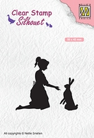 SIL061 Silhouet Clear stamps girl with hare